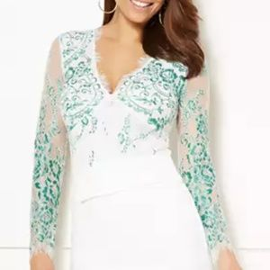 Eva Mendes New York & Company Kiara Lace Bodysuit